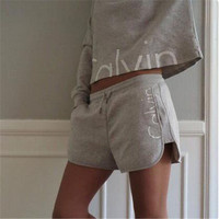 """""""Calvin Klein"""" Long-Sleeved Two-Piece Shorts"""