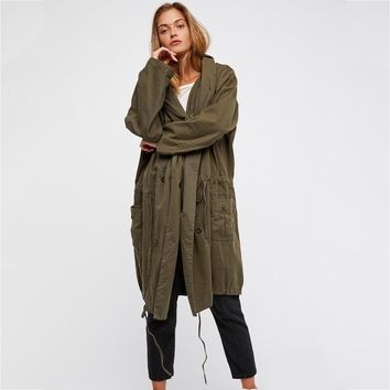 Oversized Trench Cotton Hooded Long Coat