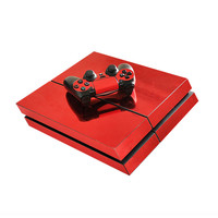 Chrome red skin decal for playstation 4 console & controllers