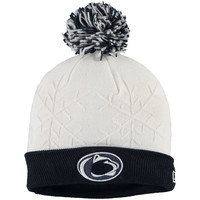 Women's New Era Navy Penn State Nittany Lions Snow Crown Cuffed Pom Knit Hat