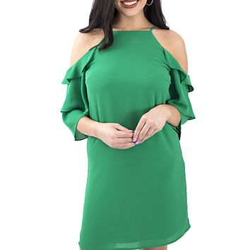 Women's Cold Shoulder Dress with 3/4 Ruffled Sleeves