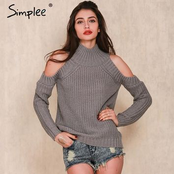 SEXY  Turtleneck off shoulder knitted sweater