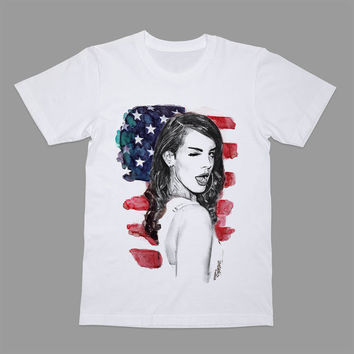 Lana Del Rey Shirt American T-shirt Pop Rock Sad Tee Drawing Tshirt T
