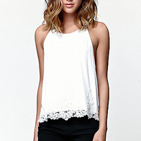 LA Hearts Goddess Neck Crochet Overlay Trim Tank Top at PacSun.com