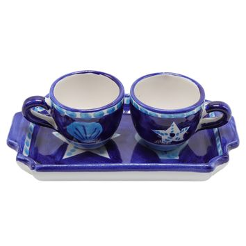 Vietri Espresso Star Fish Cups Set With Tray & Two Espresso Cups