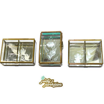 Brass and Glass Box Mirrored Glass Box Metal and Glass Box Trinket Box Glass Boxes Vanity Box