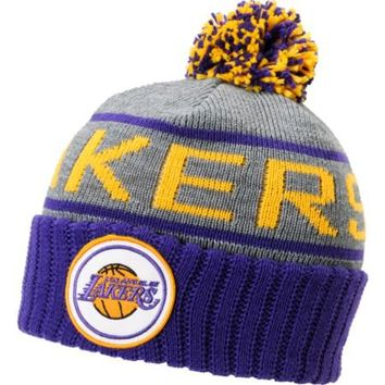 NBA Mitchell and Ness Los Angeles Lakers Pom Beanie