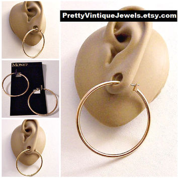 "Monet Large Tube 1 1/2"" Hoops Pierced Stud Earrings Gold Tone Vintage 38mm Round Open Ring Dangles Surgical Steel Posts"