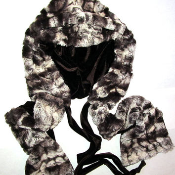 Hoodie Scarf Faux Fur Softest Luxe Chinchilla Fake Fur Hat with Brown Stretch Velvet Lining Fashion Hooded Scarf Hoody, Neck Warmer, Wrap