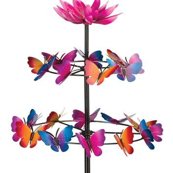Orbiting Butterflies Metal Kinetic Garden Stake Wind Spinner