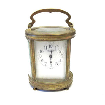 Antique Duverdrey & Bloquel French Carriage Clock 11 Jewel Brass And Glass Lion Passant