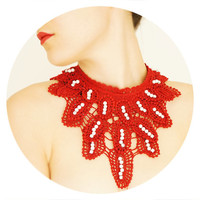 Lyeenia // Handmade Dark Red Pearl Crochet Cotton Lace Collar Necklace Applique Blouse Accessories Bib Necklace