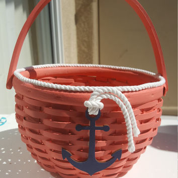 Coral Flower Girl Basket and Ring Box with White Rope and Navy Anchor