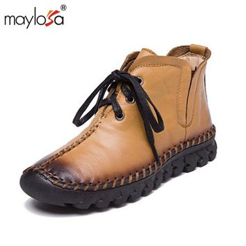 MAYLOSA New women Genuine Leather Boots Vintage Style Flat Booties Soft Cowhide Women's Shoes side Zip Ankle Boots zapatos mujer