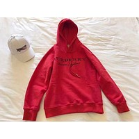 Burberry Fashion Trending Women Embroidery LOGO Pullover Hoodie Red G