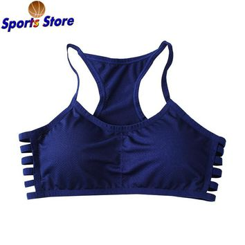 2017 Sports Yoga Bra Brassiere Breathable Hollow Out Side Striped Bras Full Cup Racer Back Fitness Cotton Push Up Shaper