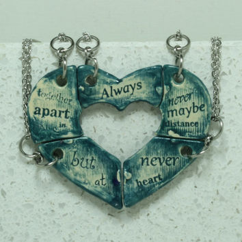 Friendship jewelry Heart puzzle pendants set of 5 Always together quote Dark Teal