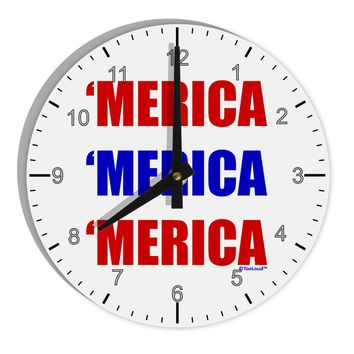 "Merica Merica Merica - Red and Blue 8"" Round Wall Clock with Numbers"