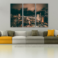 San Fracisco Bay Area City Canvas Photo 3 Panels Print Wall Decor Fine Art Photography Repro Print for Home and Office Wall Decoration