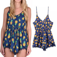 Summer Beach Sexy Women's Strap Pineapple Print Jumpsuit