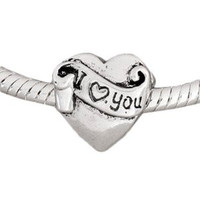 European Charm Metal Bead I Love You Heart