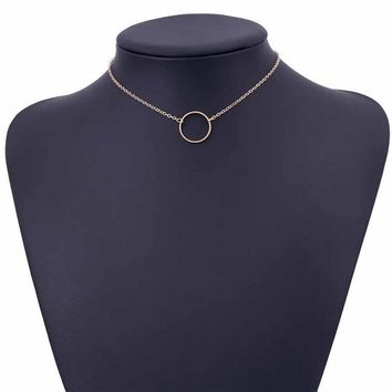 Dainty Choker Circle Gold Chain Necklace For Women Charm Circle Chain Choker Necklace