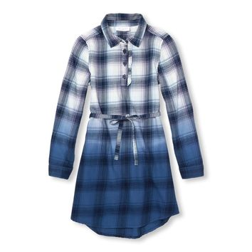 Girls Long Sleeve Ombre Plaid Woven Dress