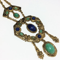 Moroccan Persian Style Necklace Faux Jade Lapis Dangling Pendant Lucite Cabochons Gold Tone Etruscan Boho Jewelry 318