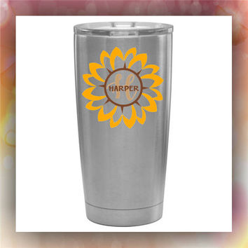Sunflower with Name and Initial stainless steel tumbler | glitter dipped tumbler | painted tumbler | custom designed cups | glitter cups