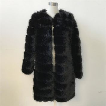 Long Sections Faux Fur Coat Jacket Women Furry Fake Fur Coats Black Female Slim Winter Lady Overcoat Outwear Fashion New