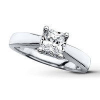 Diamond Solitaire Ring 3/4 Carat Princess-cut 10K White Gold