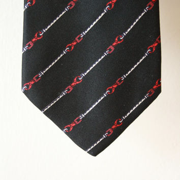 ON SALE Gucci Lever and Rope Black Red and White Silk Vintage Tie