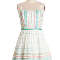 ModCloth Festival Strapless A-line Triad and True Dress