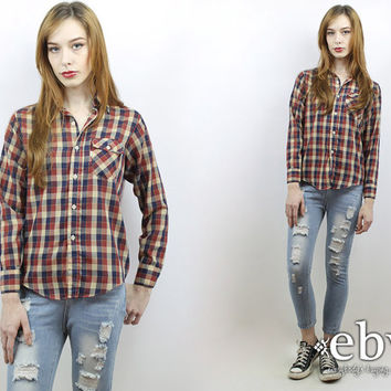 Vintage 70s Levi's Plaid Button Up Shirt S M Thin Plaid Shirt 70s Shirt Hipster Shirt 70s Plaid Top Hippie Top Levi's Shirt Hippy Shirt