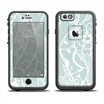 The Subtle Green and White Lace Design Skin Set for the Apple iPhone 6 LifeProof Fre Case