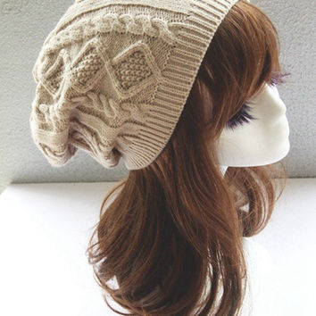 Wool Knit Beanie Hat Double Helix Cap