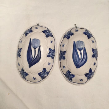 Delft Blue,  Tulip Glazed Ceramic Mold,  Kitchen Wall Hanging, Embossed, Hand Painted, Set Of Two