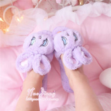 Harajuku Sweet  Lolita Kawaii Rabbit Winter Princess Plush Slipper Shoes#899