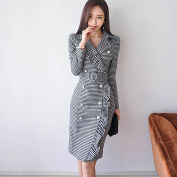 Double Breasted Slim Plaid Long Sleeve With Ruffles Mini Dress