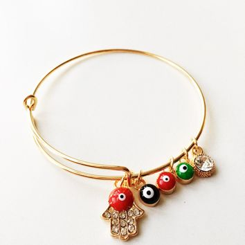 22K gold plated evil eye bracelet, hamsa bangle bracelet, adjustable evil eye bracelet