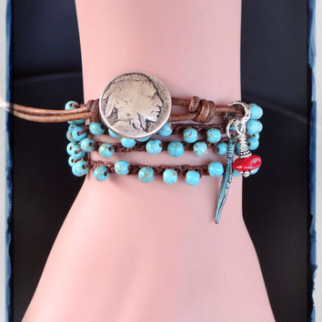 Crochet Bracelet, Turquoise Bracelet, Native American, Southwestern, Wrap Bracelet, Leather Bracelets, Crochet Jewelry, Crocheted Jewelry.