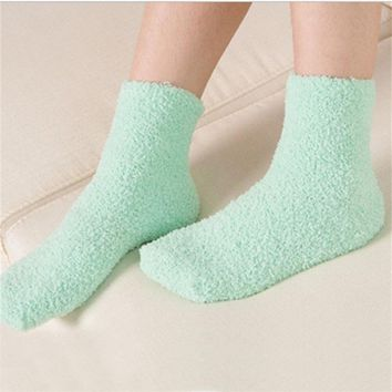 Womens Candy Colors Casual Fuzzy Thick Warm Cashmere Slipper Socks Ladies Girls Hosiery 031
