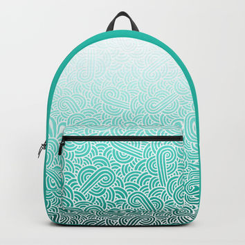 Ombre turquoise blue and white swirls doodles Backpack by Savousepate