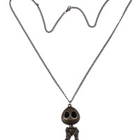 Copper Devil Skull Pendant Long Necklace