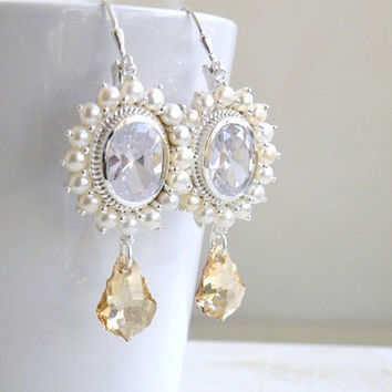 Wedding Jewelry Bridal Earrings Oval Faceted CZ Pearl Swarovski Crystal Sterling Silver Earrings - Greta E5