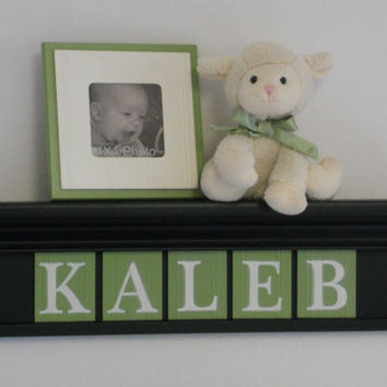 "Boy Wooden Letters Nursery Decor Names in Wood KALEB on 24"" Black Shelf with 5 Light Green Wall Letters"