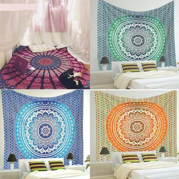 Mandala Pink Green Blue Orange Wall Art Decor Tapestry