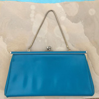 Vintage Clutch Purse Turquoise Metal Clasp Pocket Book