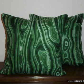 Decorative-Accent-Throw Pillow Covers-Free US Shipping-Set of Two 18 Inch Emerald Malachite Print