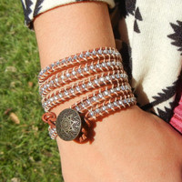 Bohemian Chan Luu inspired Czech Glass Beaded Leather Five Wrap Bracelet